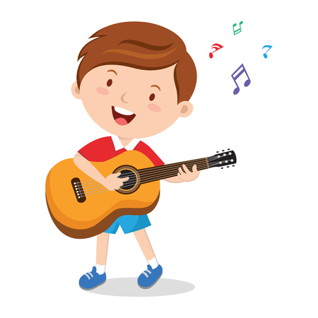 boy playing guitar: Boy playing guitar. Vector illustration of a cheerful boy playing guitar happily.