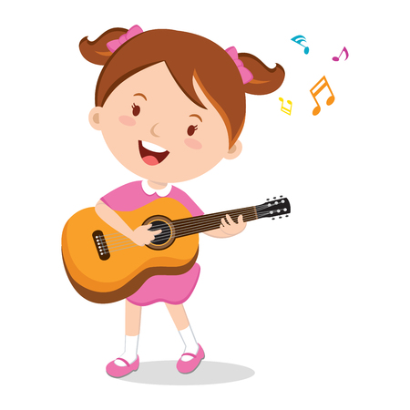 Girl playing guitar. Vector illustration of a cheerful girl playing guitar happily. 矢量图像