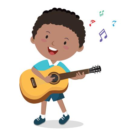 어린 소년 기타를 연주. 명랑 소년의 벡터 일러스트 레이 션 기타를 연주하고 노래.