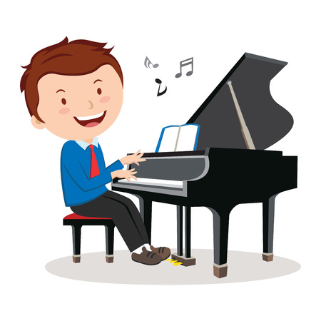 Boy playing piano. Pianist. Vector illustration of a happy boy playing piano.