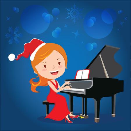 performing arts: Christmas piano performance. Vector illustration of beautiful woman playing piano. Illustration