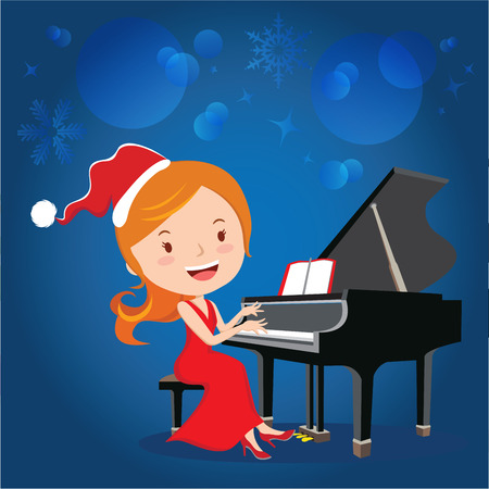 Christmas piano performance. Vector illustration of beautiful woman playing piano. Illustration