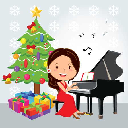 pretty young girl: Pretty young girl having a Christmas piano recital or Christmas concert.