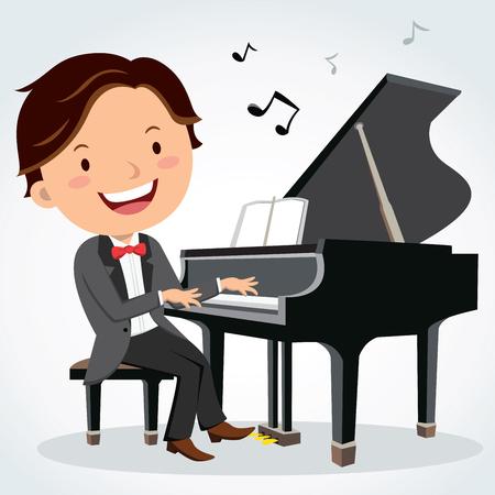 Concert pianist. Piano player. Vectores