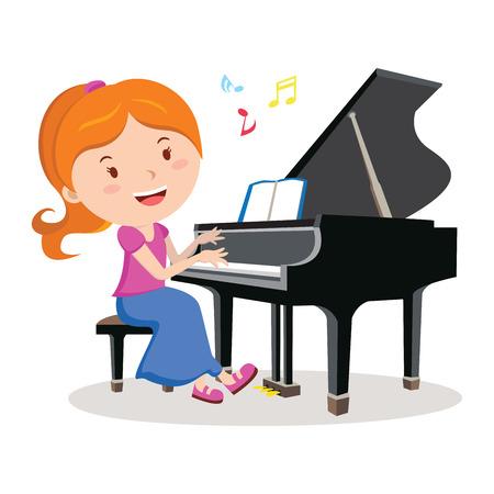 소녀는 피아노를 연주. 피아니스트. 행복한 소녀 피아노 연주의 벡터 일러스트 레이 션.