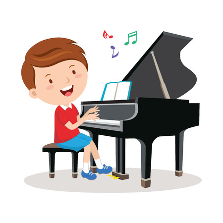 recital: Little boy playing piano. Vector illustration of a cheerful boy playing piano.