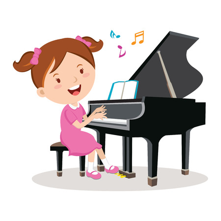 Niña que juega el piano. Ilustración vectorial de una niña alegre de tocar el piano. * Descripción / Título / Pie de foto: Niña que juega el piano. Ilustración vectorial de una niña alegre de tocar el piano.