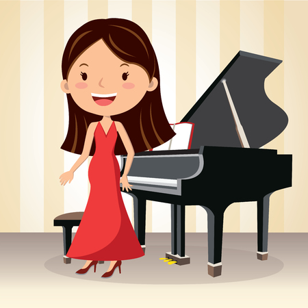 Piano concert. Composer. Pianist standing.