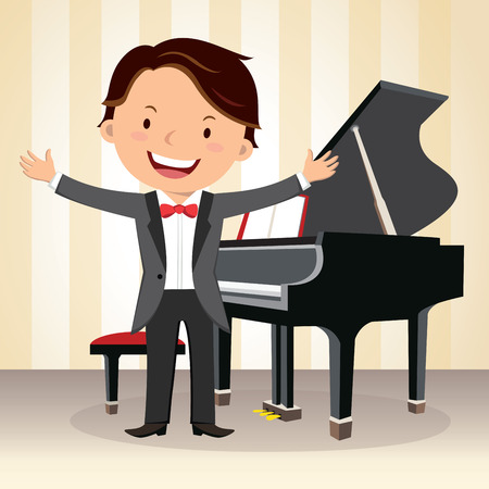 Piano concert. Young pianist standing near piano in suit and gesturing.