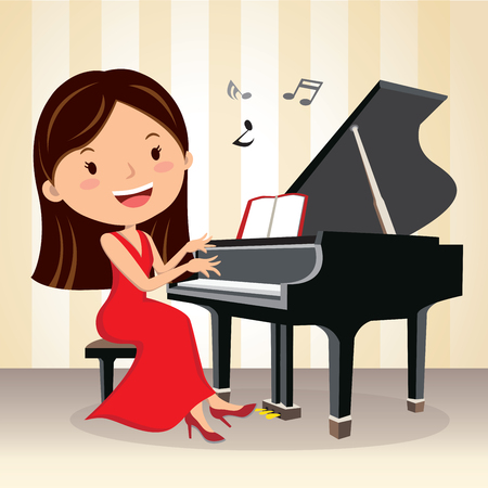 Piano concert. Pianist. Beautiful young woman playing piano on the stage.