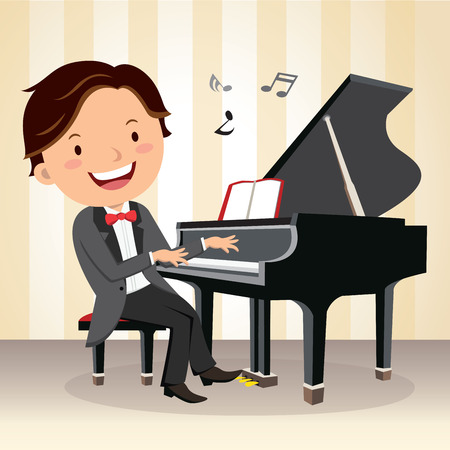 Piano concert. Young pianist playing piano on the stage.
