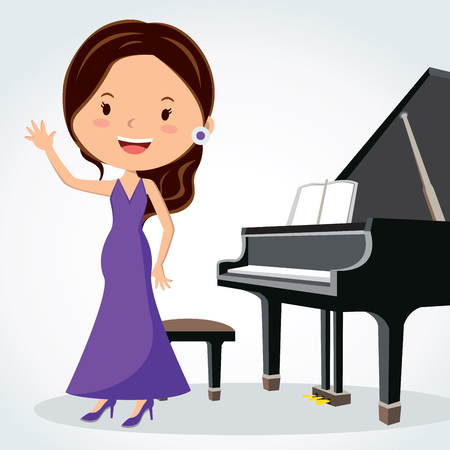 Piano performance. Pianist waving. Illustration