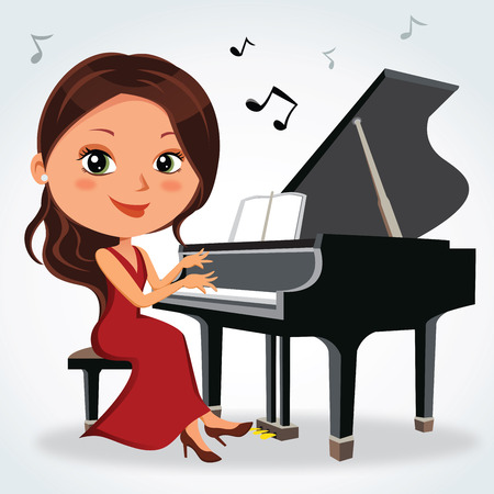 Christmas piano recital. Vector illustration of a pretty woman having music performance.