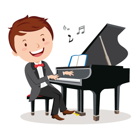 Professional pianist. Rehearsal before concert pianist . Illustration
