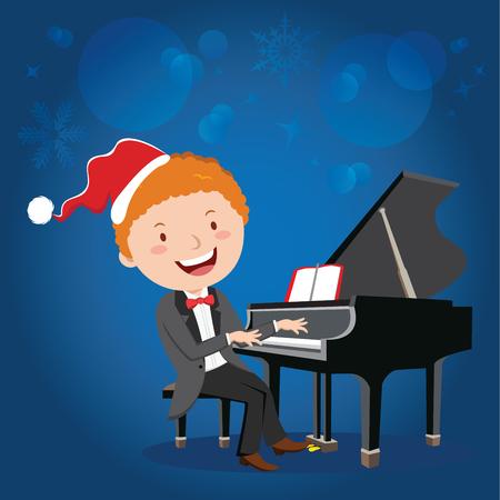 pianista: interpretación de piano de Navidad. Pianista.