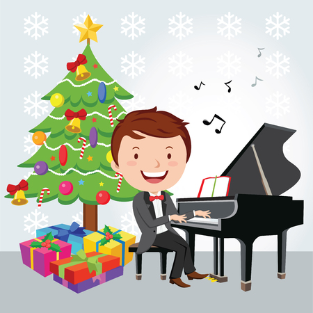 piano player: Xmas piano recital. Piano player. Illustration