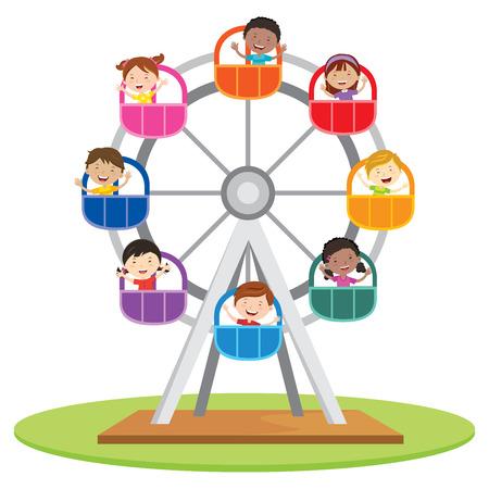 Circus ferris wheel. Vector illustration of diversity kids riding a ferris wheel.