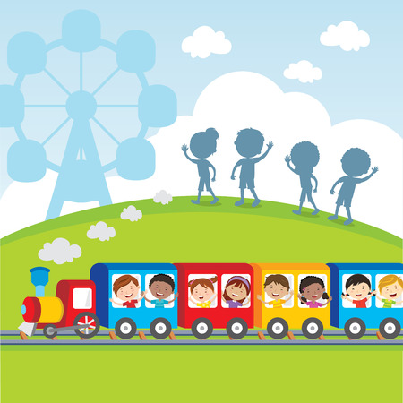 ridding: Circus train kids. Vector illustration of diversity kids on circus train waving their hands. Illustration