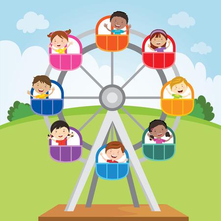 Happy kids riding a ferris wheel. Vector illustration of diversity kids riding a ferris wheel.