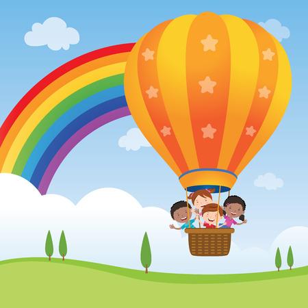 balloon vector: Happy kids riding hot air balloon. Vector illustration of diversity kids riding a hot air balloon.