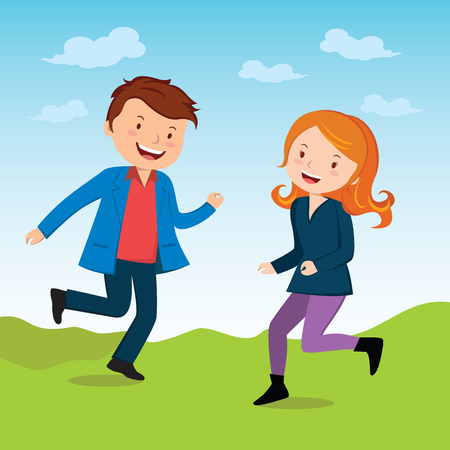 joyous: Joyous. Vector illustration of a happy young man and woman with bliss and joy.