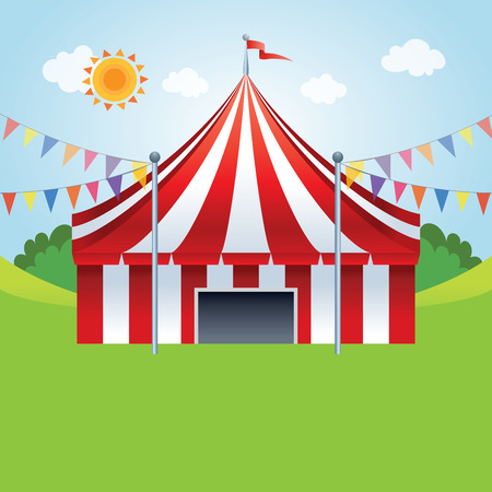 Circus tent. Vector illustration of a stylized circus tents on the meadow.