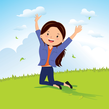 women: Freedom. Vector illustration of a cheerful girl celebrating for joy.