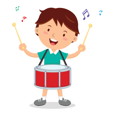 percussionist: Boy playing drum. Vector illustration of a cheerful boy playing drum.