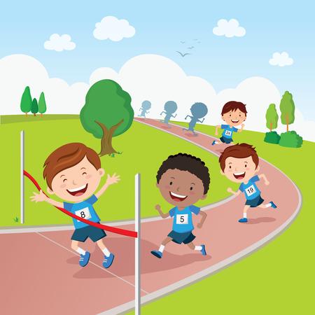 Running competition. Marathon running competition.
