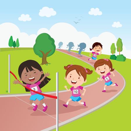 Renwedstrijd. Vector illustratie van de studenten in een lopende competitie.