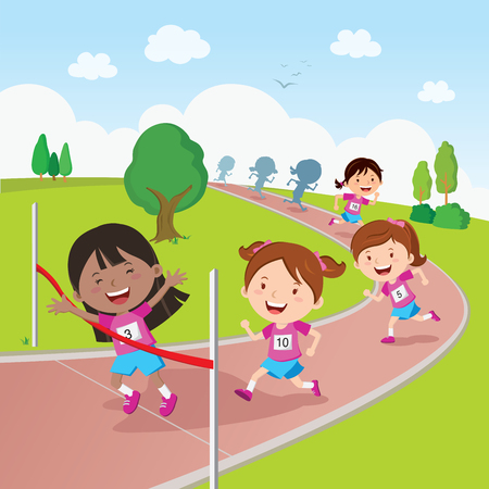 Running race. Vector illustration of students in a running competition. Illustration