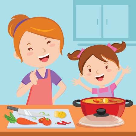 cartoon kid: meal, slice, kitchen, bonding, show, cutout, female, soup, curry, recipe, vegetable, dinner, family, tomato, daughter, lifestyle, relationship, girl, lunch, cut, knife, woman, carrot, parenting, help, cook, together, home, kid, veggie, child, mother, cook