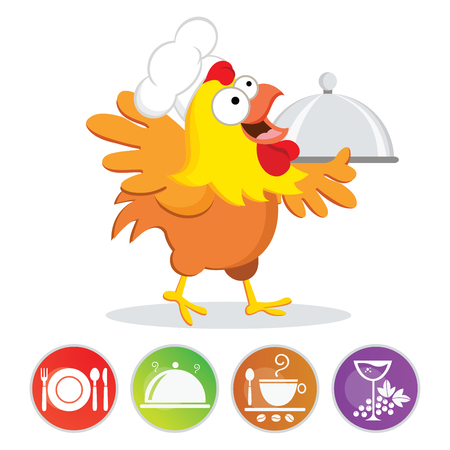 Chicken chef and cooking icons