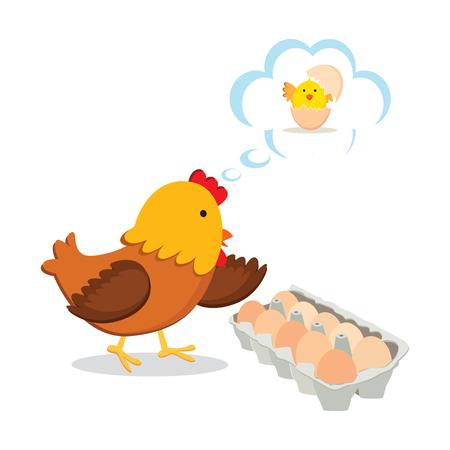 Chicken family. Hen and eggs. Illustration