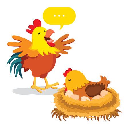 Chicken family. Hen hatching eggs.