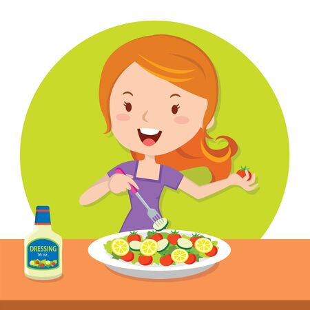 preparing food: Girl eating salad