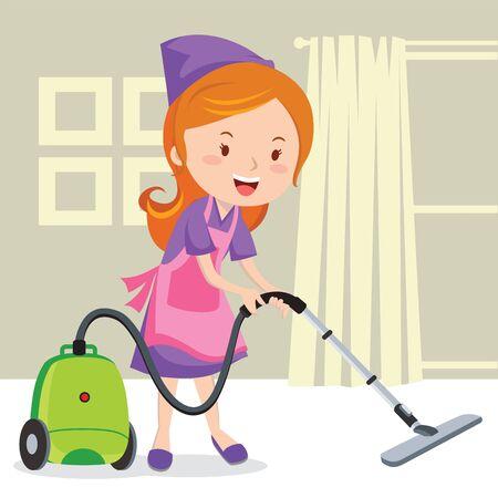 vacuuming: Young girl vacuuming floor Illustration