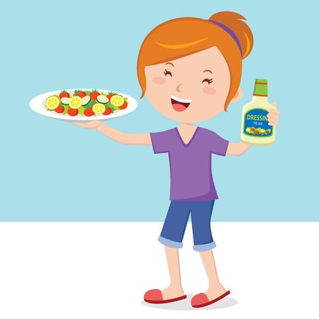 salad dressing: Woman holding plate of salad and salad dressing Illustration