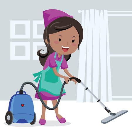 vacuuming: Girl vacuuming floor
