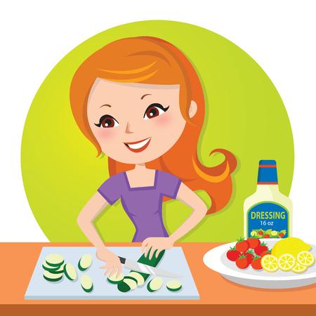 Woman cutting fresh vegetables Illustration