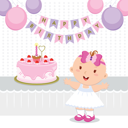 party girl: Baby girl birthday party. Vector illustration of a little girl celebrating her first birthday. Illustration