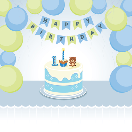 Birthday balloons party for little boy. Vector illustration of balloons and cake for little boy first birthday.