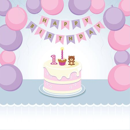 Birthday balloons party for little girl. Vector illustration of balloons and cake for little girl first birthday.