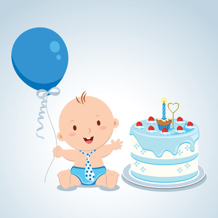 one year old: Little baby boy birthday. Vector illustration of a baby boy celebrating his first birthday.