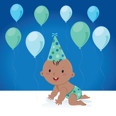 baby: Cute baby boy with balloons and birthday cap. Vector illustration of a little baby boy with balloons and party hat.
