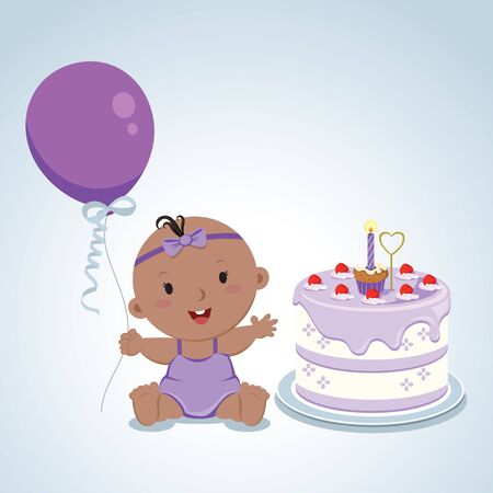 cute baby girl: Cute baby girl birthday. Vector illustration of a baby girl first birthday cake.