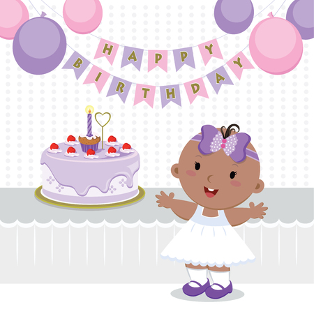 cute baby girl: Cute baby girl birthday party. Vector illustration of a little girl celebrating her first birthday. Illustration