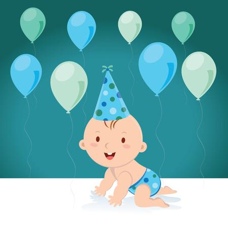 Pequeño bebé con los globos y el casquillo del cumpleaños. Ilustración vectorial de un niño con globos y sombrero de fiesta. Ilustración de vector