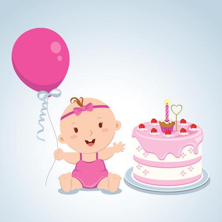 baby: Little baby girl birthday. Vector illustration of a baby girl first birthday cake.