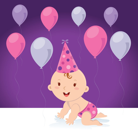 hat cap: Little baby girl with balloons and birthday cap. Vector illustration of a cute baby girl with balloons and party hat. Illustration